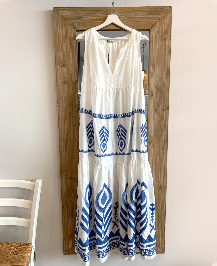 SLEEVELESS LINEN DRESS WHITE/BLUE