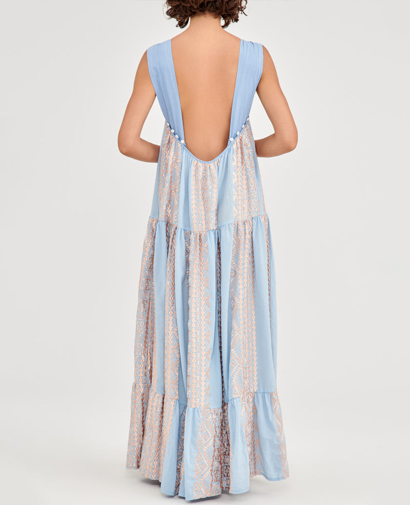 NEW BACKLESS DRESS LIGHT BLUE/ROSE GOLD