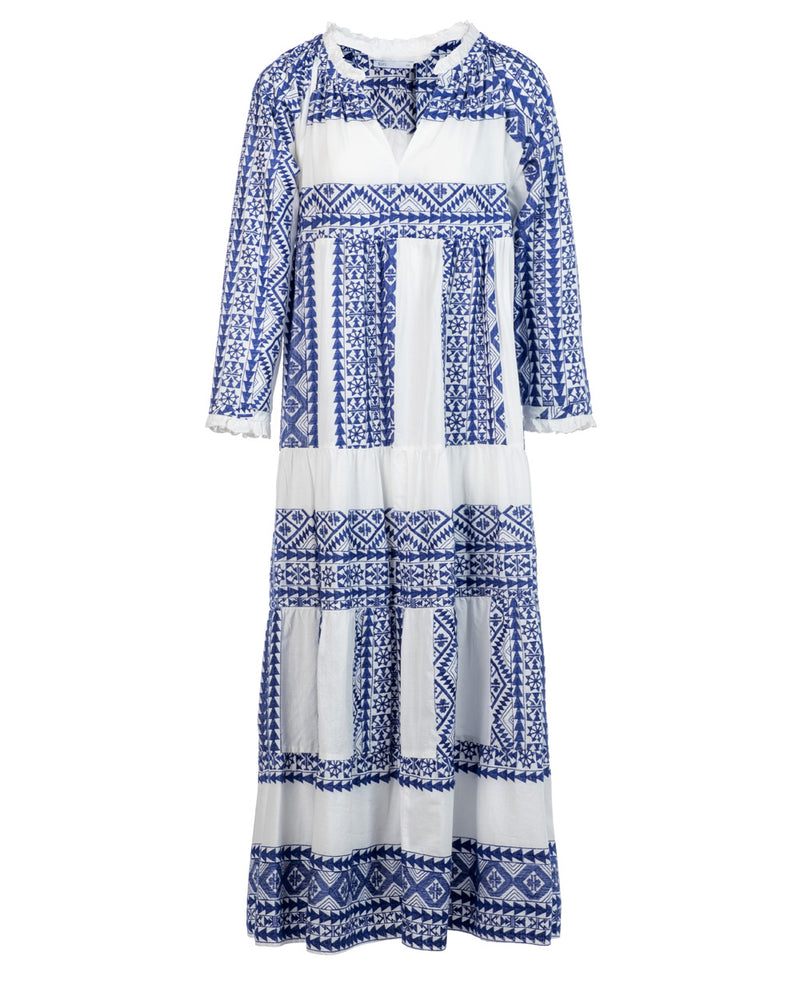 LONG EMBROIDERED DRESS WHITE/BLUE