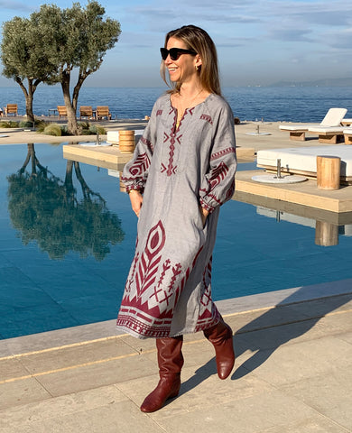 NEW FEATHER LINEN DRESS GREY/BORDEAUX