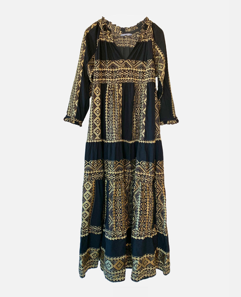 LONG EMBROIDERED DRESS BLACK/GOLD