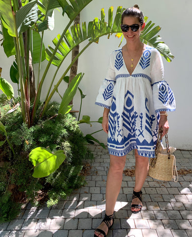 FEATHER LINEN DRESS BLUE