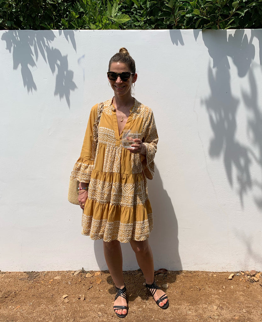EMBROIDERED DRESS MUSTARD