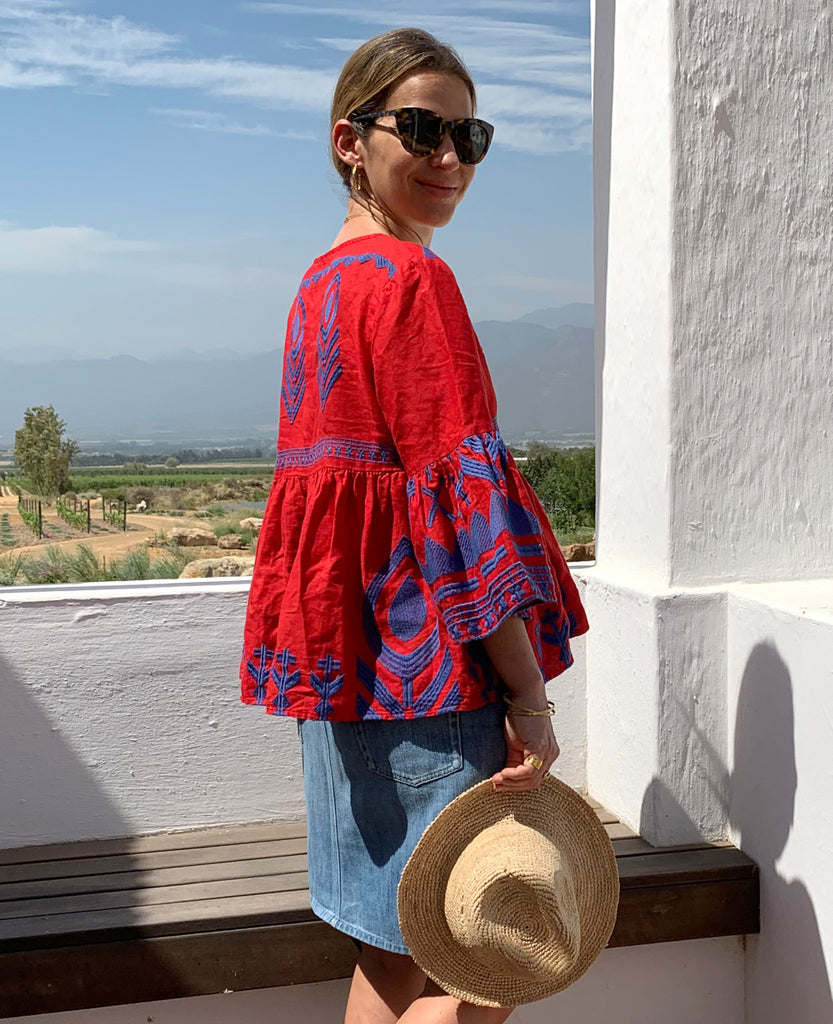 FEATHER LINEN BLOUSE RED/BLUE