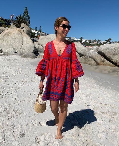 FEATHER LINEN DRESS RED