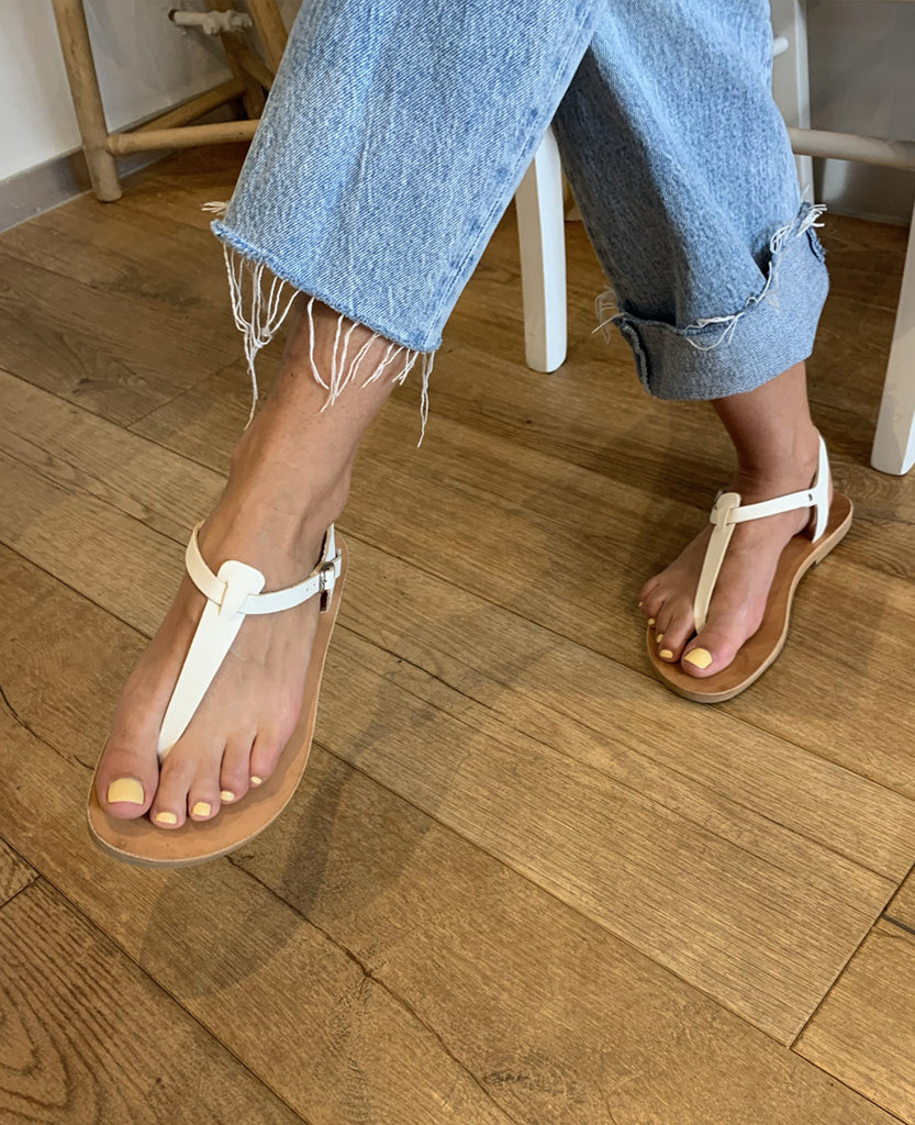 """FLAT WHITE"" LEATHER SANDALS"