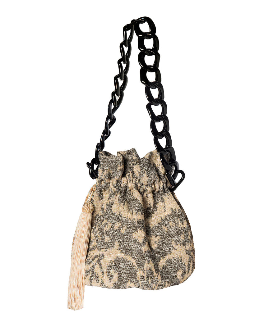 GREY BROCADE BUCKET BAG