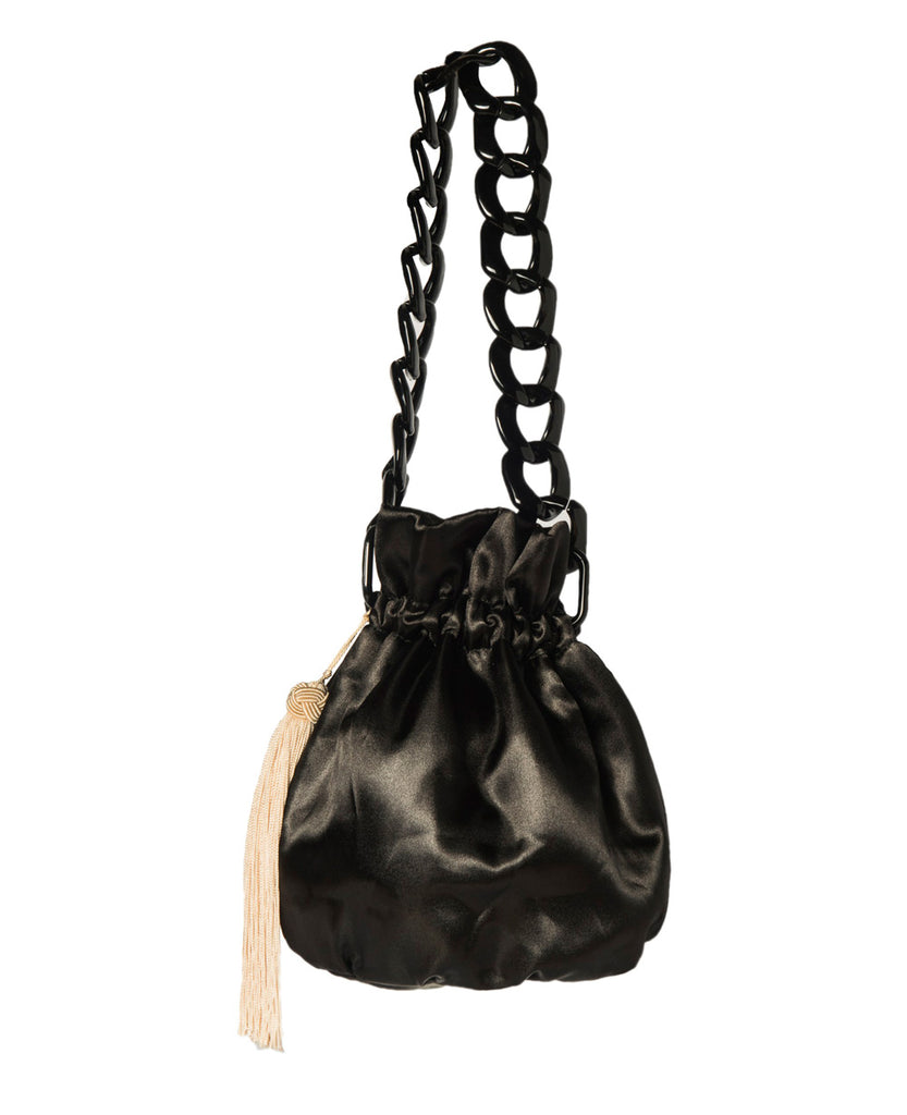 BUCKET BAG BLACK SATIN