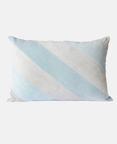 STRIPED VELVET CUSHION SOFT BLUE