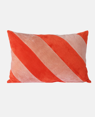 STRIPED VELVET CUSHION RED/PALE PINK