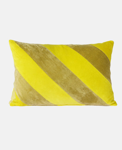 STRIPED VELVET CUSHION LIME