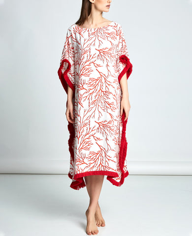 RED CORAL KAFTAN DRESS