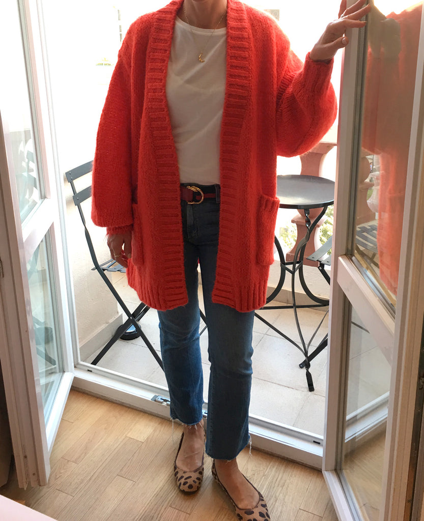 "CARDIGAN ""MATILDA"" CORAL RED"