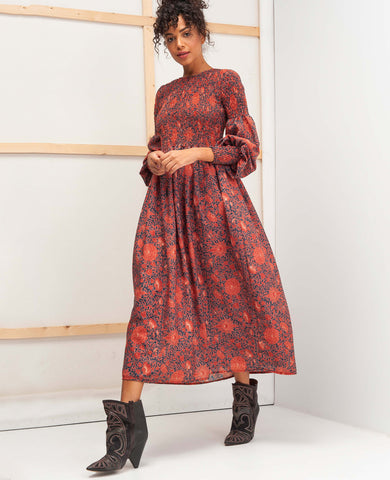 KIRSTEN DRESS (TERRACOTTA FLOWERS)