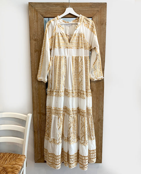 LONG EMBROIDERED DRESS WHITE/GOLD
