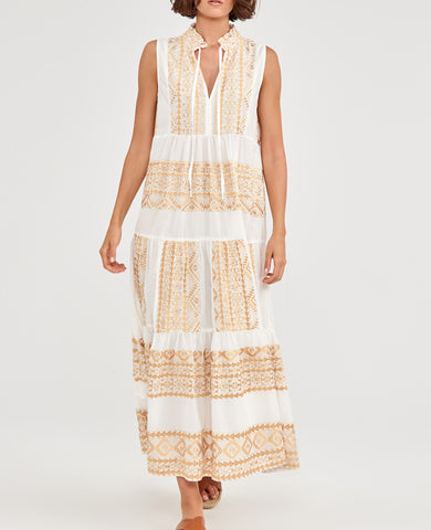EMBROIDERED SLEEVELESS DRESS WHITE/GOLD