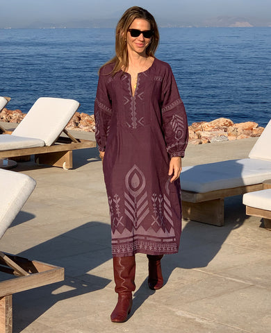 NEW FEATHER LINEN DRESS BORDEAUX/AUBERGINE