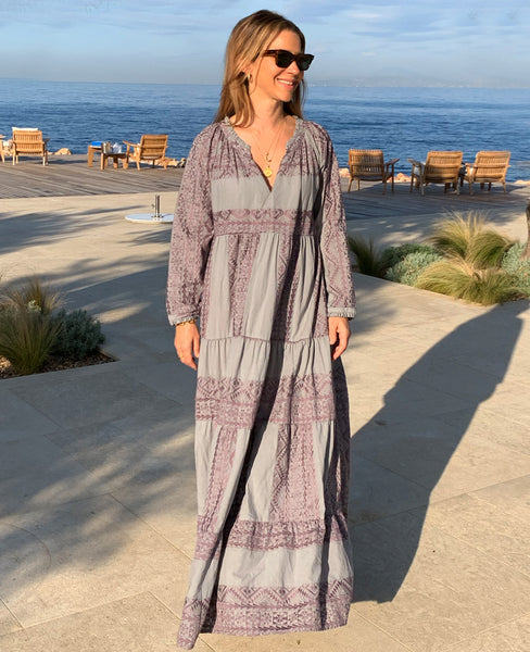 LONG EMBROIDERED DRESS GREY/AUBERGINE