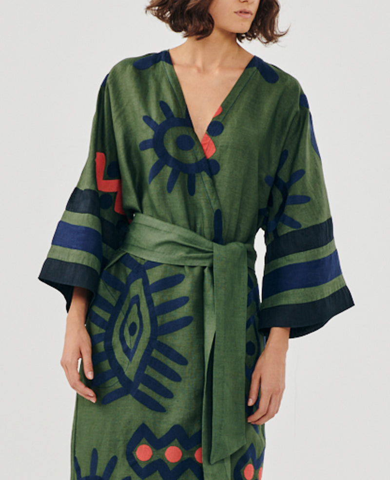 LONG KIMONO DRESS GREEN