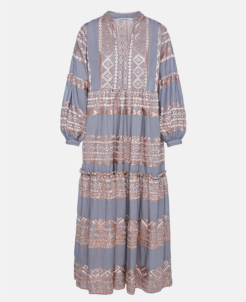 MIDI EMBROIDERED DRESS GREY/ROSE GOLD