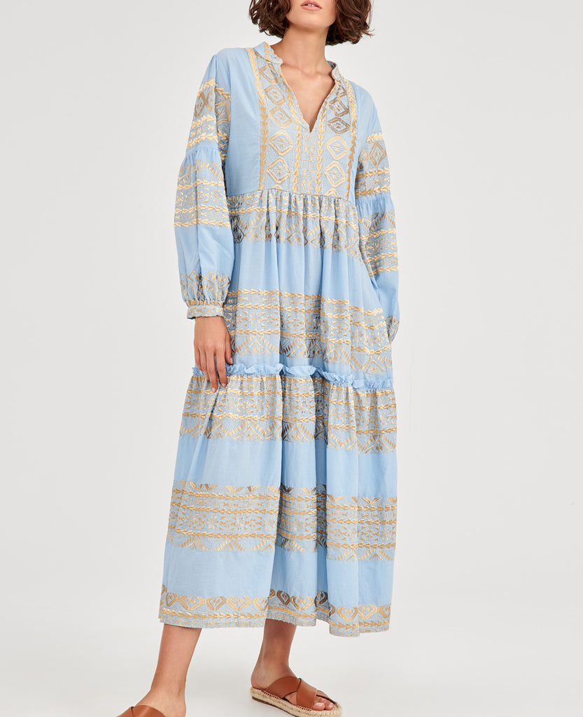 MIDI EMBROIDERED DRESS PALE BLUE/GOLD