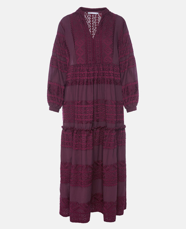 MIDI EMBROIDERED DRESS TOTAL BORDEAUX