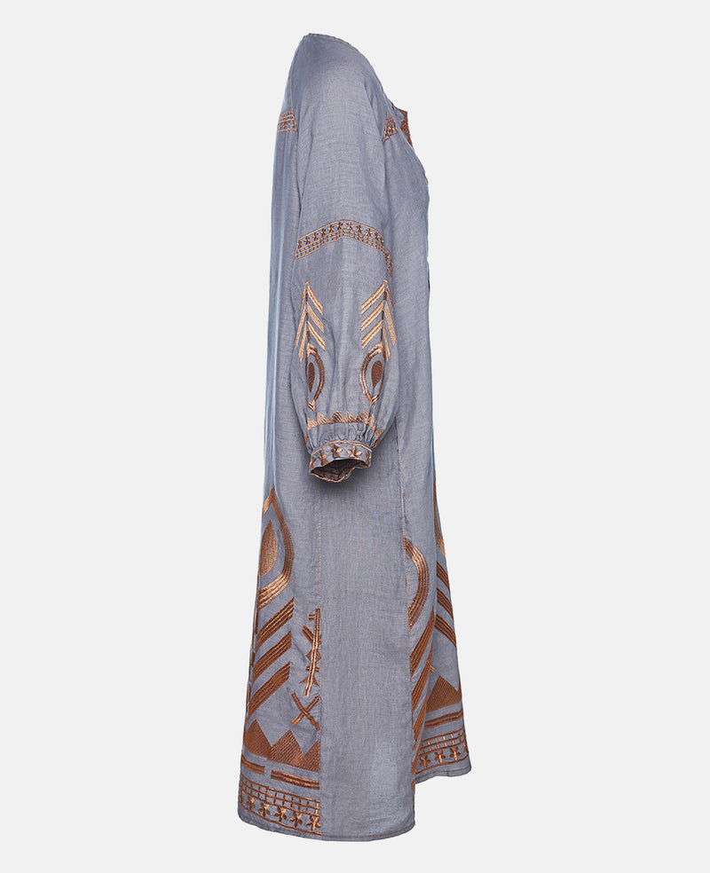 NEW FEATHER LINEN DRESS GREY/BRONZE