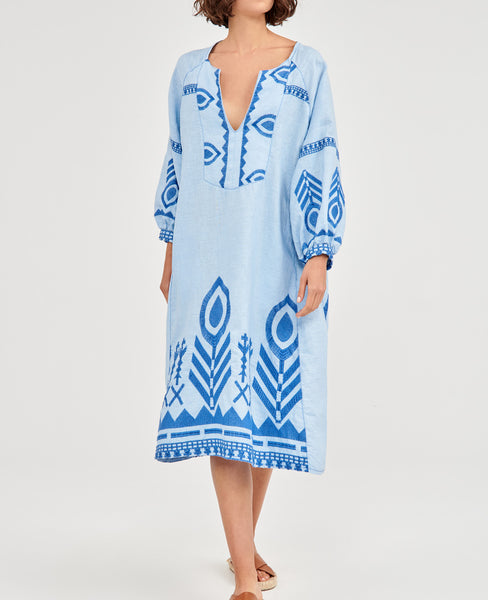 NEW FEATHER LINEN DRESS PALE BLUE/BLUE