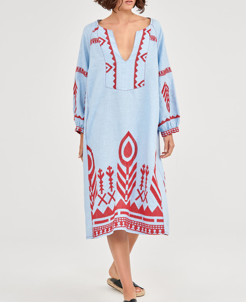 NEW FEATHER LINEN DRESS PALE BLUE/RED