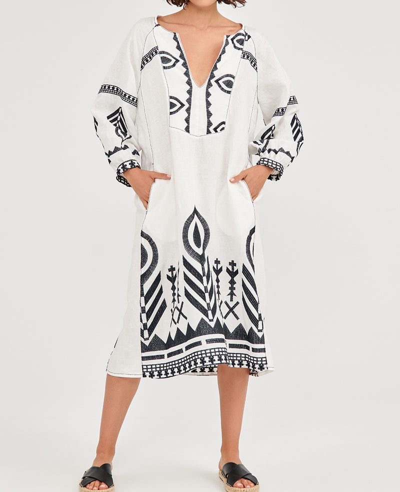 NEW FEATHER LINEN DRESS WHITE/BLACK