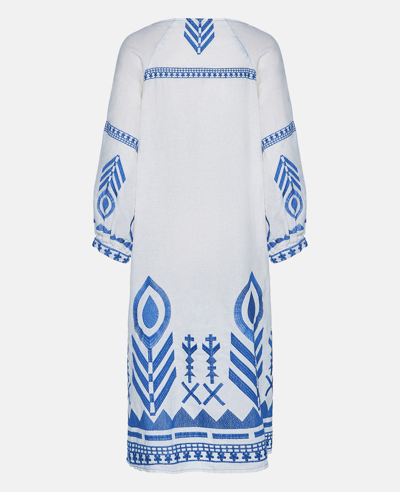 NEW FEATHER LINEN DRESS WHITE/BLUE