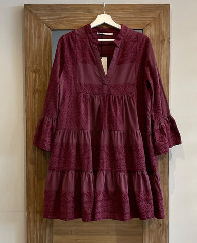 SHORT EMBROIDERED DRESS TOTAL BORDEAUX