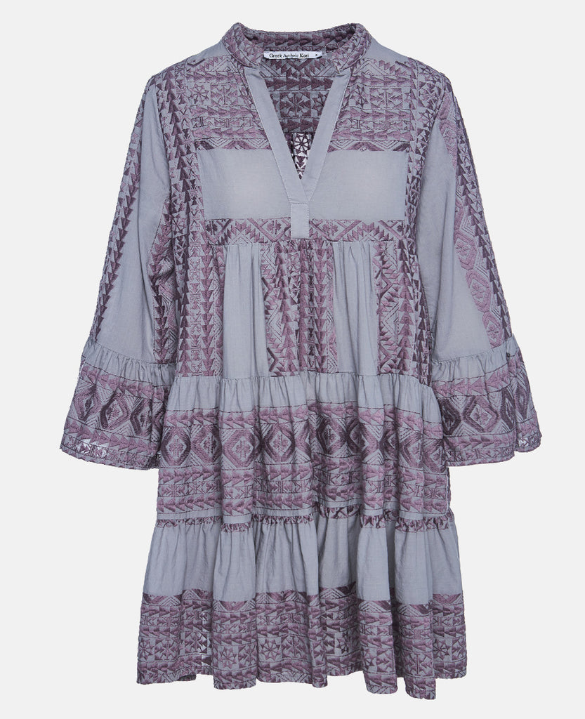 SHORT EMBROIDERED DRESS GREY/AUBERGINE