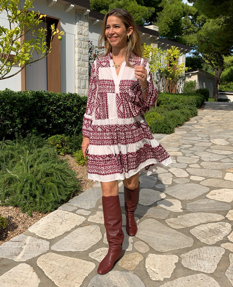 SHORT EMBROIDERED DRESS WHITE/BORDEAUX