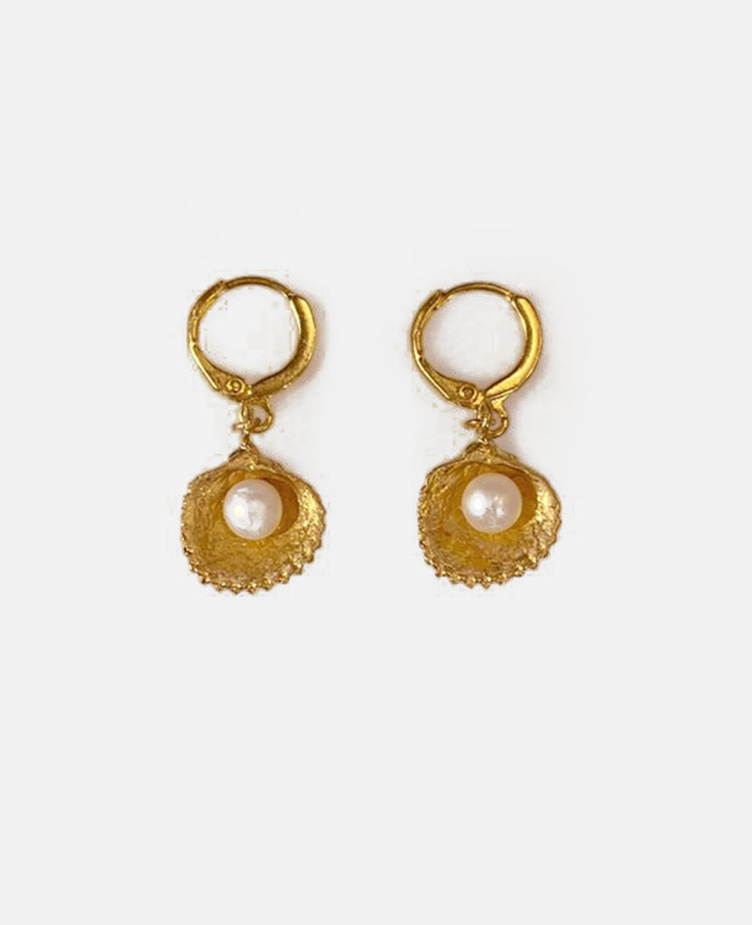 "EARRINGS ""MINI PEARL SHELL"" GOLD"
