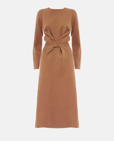 ICONIC KNIT WRAP DRESS CAMEL