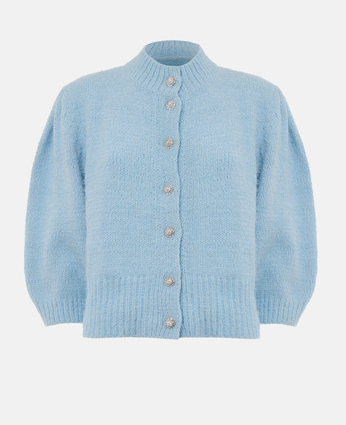 KNIT CARDIGAN WITH CRYSTAL DETAILS LIGHT BLUE