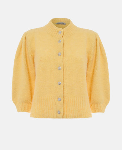 KNIT CARDIGAN WITH CRYSTAL DETAILS YELLOW