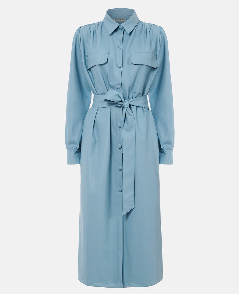 VEGAN LEATHER DRESS LIGHT BLUE