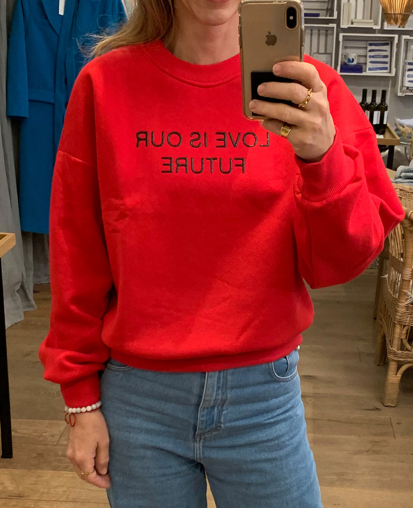 "SWEATSHIRT ""LOVE IS OUR FUTURE"" RED"