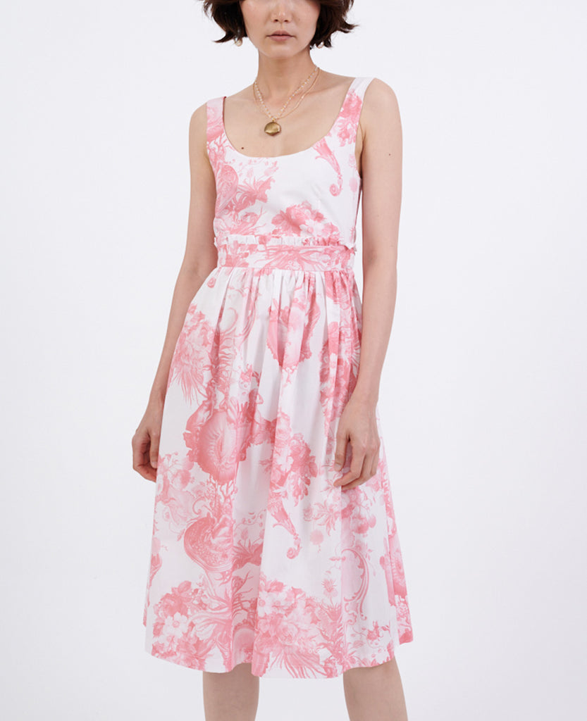 PRINTED COTTON DRESS WHITE/ROSE