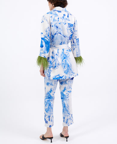 PRINTED SIGNATURE PANTS WHITE/BLUE