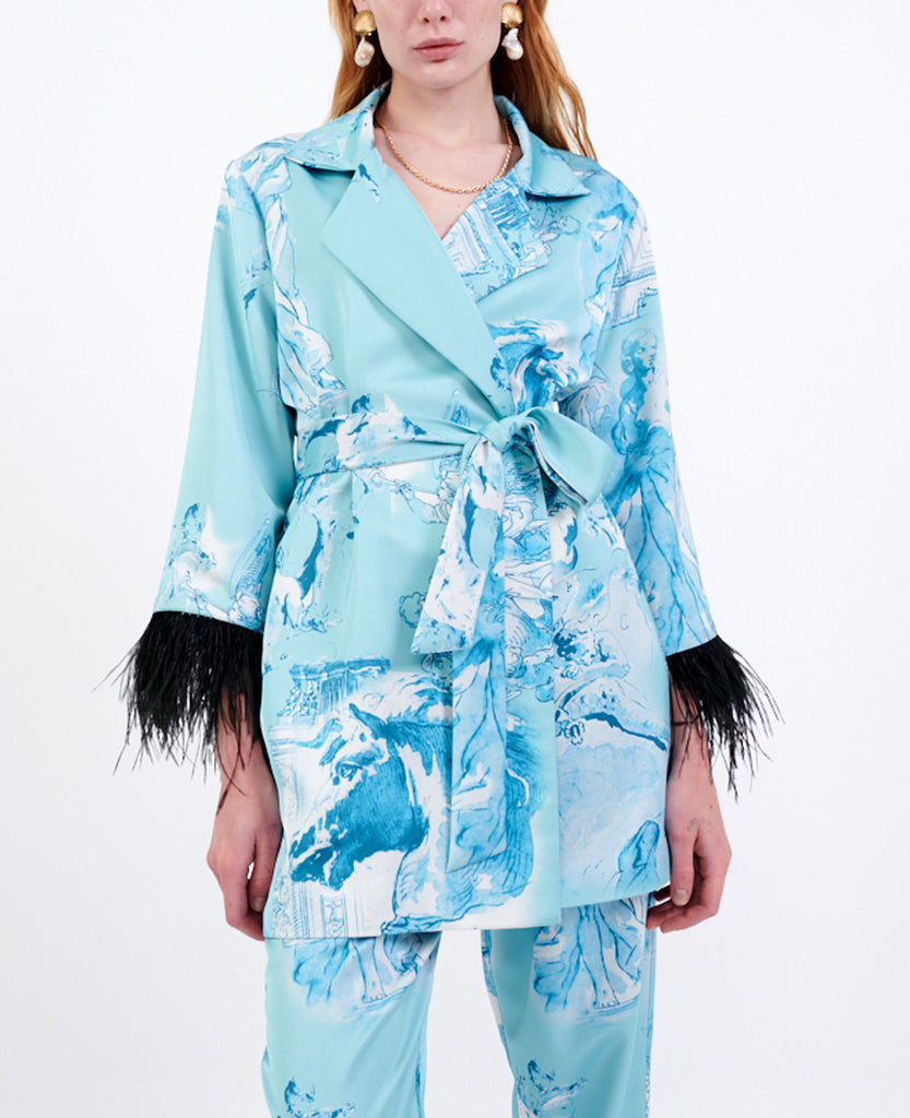 PRINTED ROBE BLAZER WITH FEATHERS