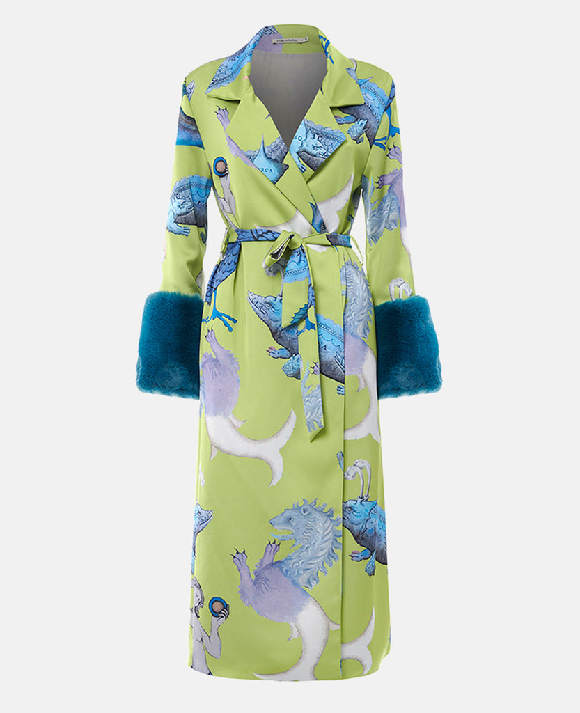 PRINTED ROBE WITH FAUX FUR DETAIL