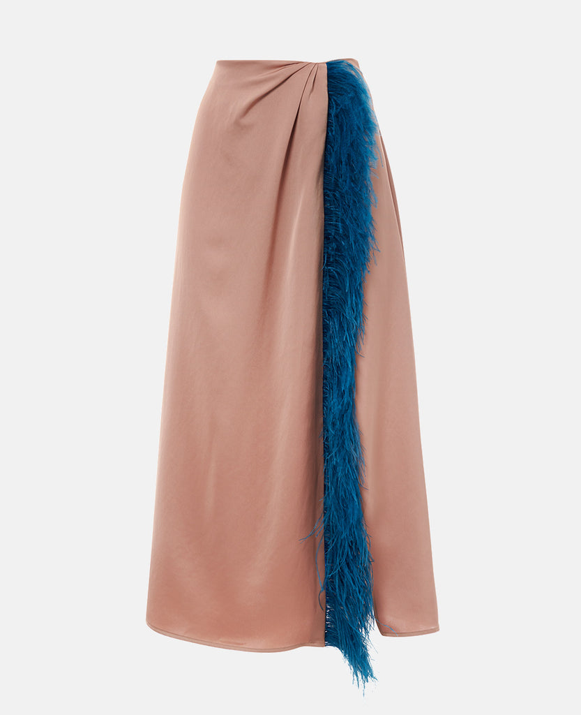 SATIN SKIRT WITH FEATHERS