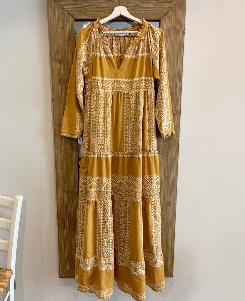 LONG EMBROIDERED DRESS MUSTARD