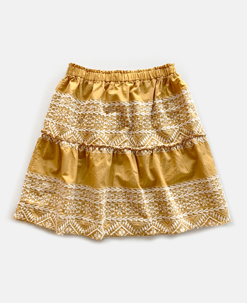 EMBROIDERED SHORT SKIRT YELLOW