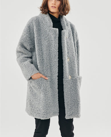 SHORT TEDDY COAT GREY