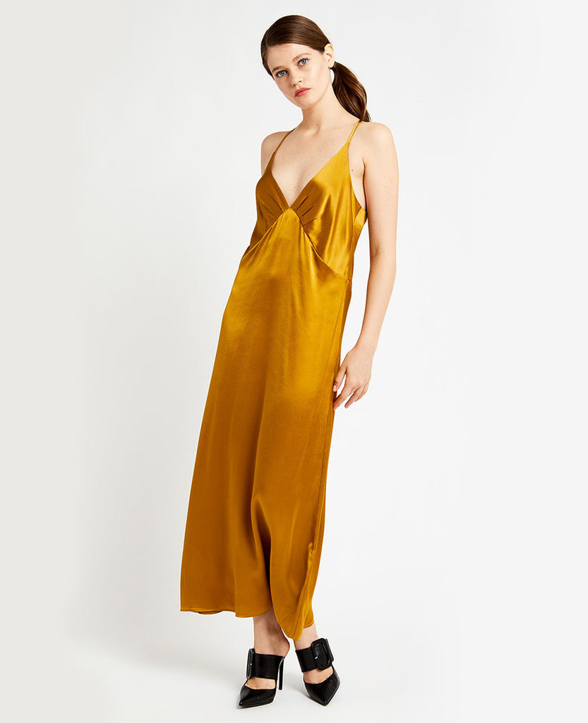 LIQUID GOLD VISCOSE SLIP DRESS