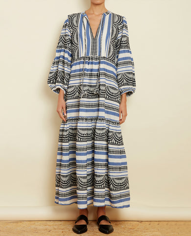 "LONG TUNIC DRESS ""CLEO"" BLUE/BLACK"